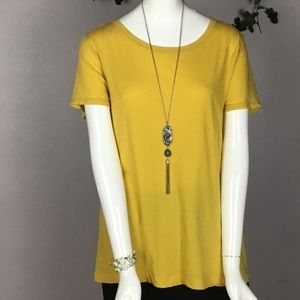 ANTHROPOLOGIE PURE+GOOD Tee Top Shirt Yellow Large